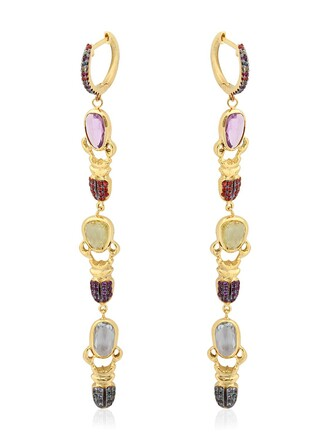 earrings gold multicolor jewels