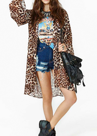 Leopard Long Sleeve Blouse|Disheefashion