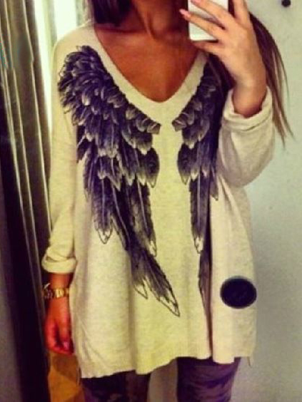 White Angel Wings Loose Jumper - Choies.com