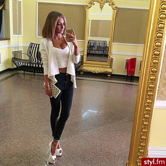 jacket style fashion beautiful iphone blonde hair mirror styl.fm brunette high heels jeans louis vuitton white black