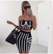 skirt,outfit,outfit idea,summer outfits,spring outfits,cute outfits,date outfit,party outfits,trendy,clothes,fashion,style,stylish,clubwear,two piece dress set,two-piece,black skirt,pencil skirt,high waisted skirt,cute skirt,top,black top,summer top,black crop top,cute top,crop tops,black and white,sleeveless,sleeveless top,sunglasses,black sunglasses,bag,black bag,handbag,purse,bags and purses,accessories,stripes,monochrome,monochrome dress,black and white dress,strapless,strapless dress,strapless top,bodycon,bodycon dress,party dress,sexy party dresses,sexy dress,sexy outfit,cute dress,girly dress,birthday dress,club dress,homecoming,homecoming dress,engagement party dress,wedding guest,wedding clothes