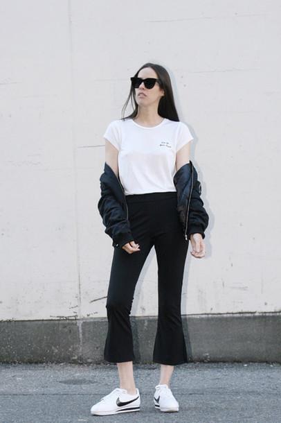 melissa araujo blogger t-shirt pants bag sunglasses shoes