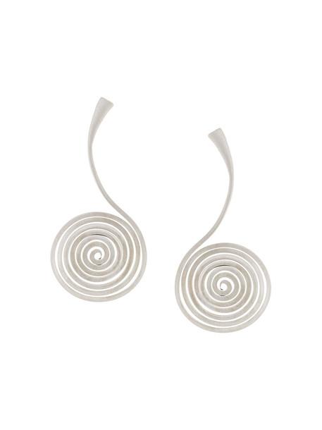 Polina Sapouna Ellis women earrings silver grey metallic jewels
