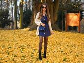 only my fashion style,blogger,dress,shoes,cardigan,bag,blue dress,fall outfits