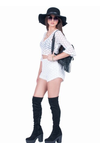 blouse crop tops boho festival summer long sleeves white top fringed bag black bag black hat white shorts knee high boots suede boots round sunglasses see through summer outfits