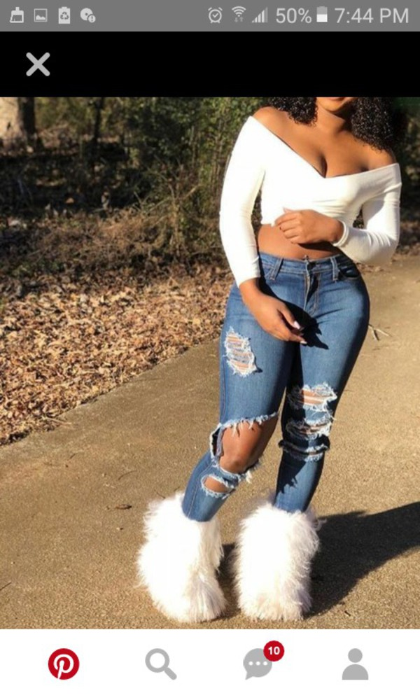 shoes a look style fall outfits boots furry boots