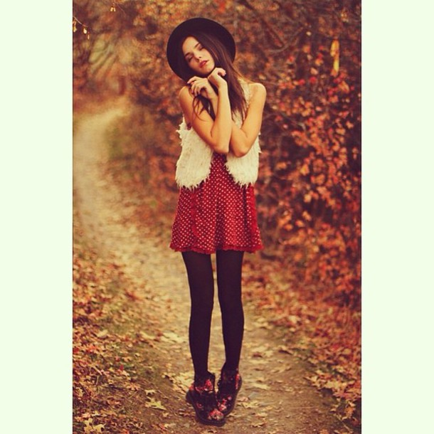 dress red dress red polka dots indie pretty girly instagram hat