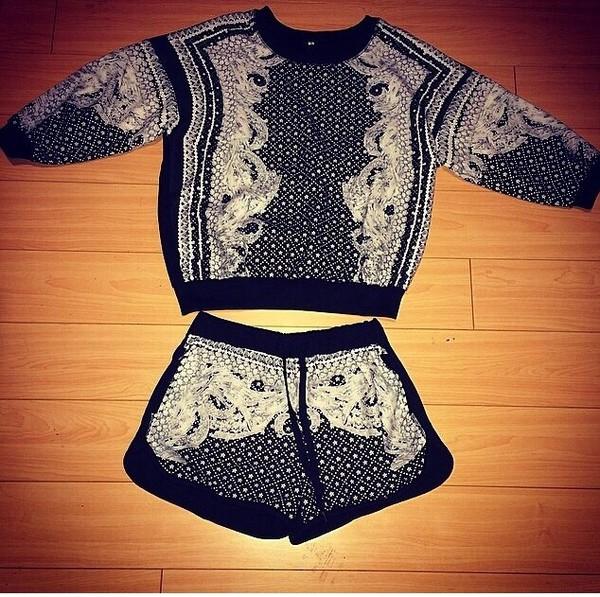 romper romper set two piece romper outfit fashion black short set long sleeves
