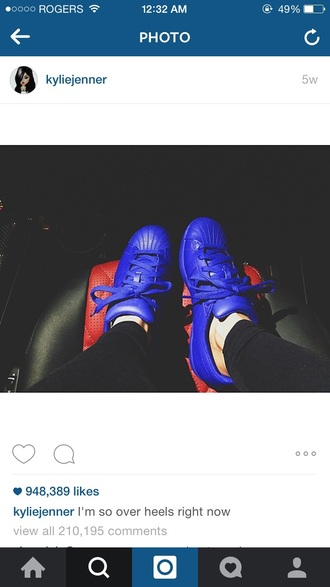 shoes kylie jenner blue shoes bright sneakers