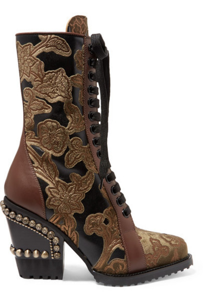 Chloé Chloé - Rylee Studded Brocade And Appliquéd Leather Ankle Boots - Brown