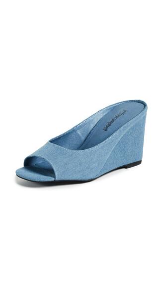 wedges denim blue shoes
