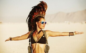 sunglasses burning man burning man costume bikini top black bikini mirrored sunglasses heart sunglasses bracelets hair accessory indian