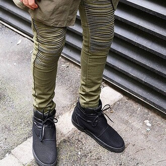 jeans maniere de voir khaki rib biker jeans mens pants khaki pants urban menswear pleated mens chino pants