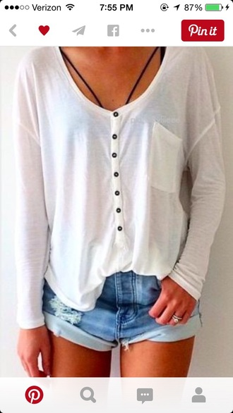 top white buttons tumblr summer hipster boho shirt long sleeves white t-shirt bohemian blouse