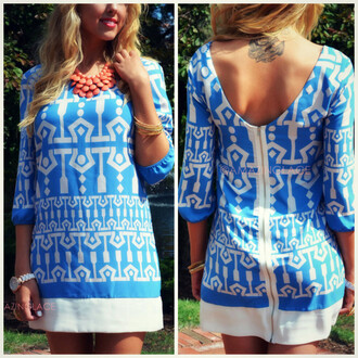 dress shift dress blue and white print mod summer sophisticated pretty feminine beach spring ladylike