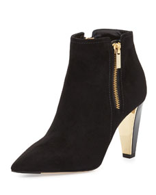Zip suede ankle boot, black