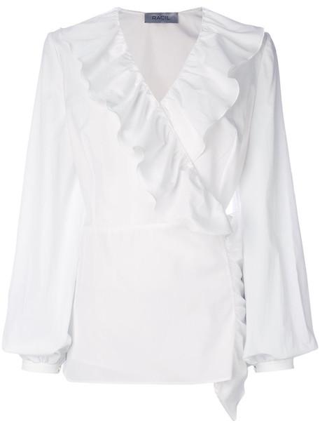 Racil blouse ruffle women white cotton top