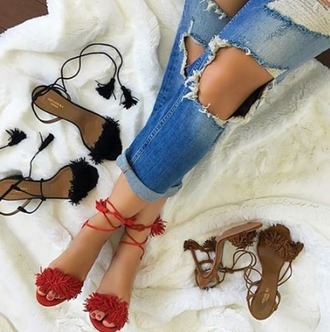 shoes girl girly girly wishlist heels fringes lace up heels lace upr red black