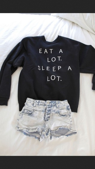 sweater black cute black sweater eat a lot sleep a lot crewneck eat sleep warm shirt funny