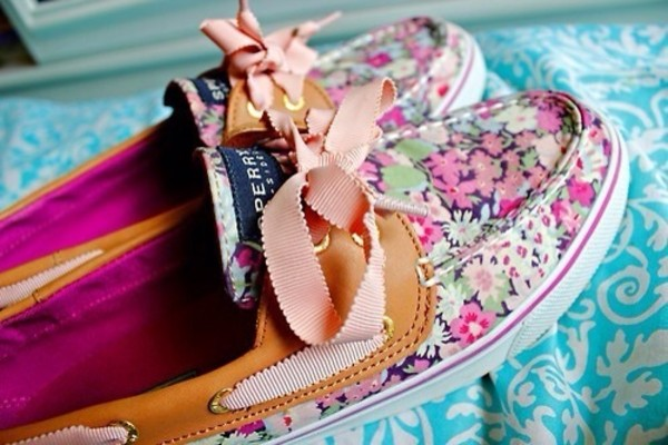 shoes floral flowers boat shoes sperry bow cute white