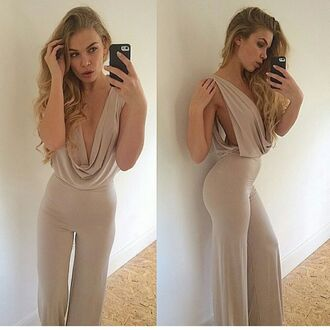 jumpsuit light brown low cut sexy cute
