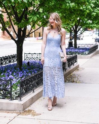 visions of vogue blogger dress shoes bag sunglasses jewels make-up lace dress blue dress sandals high heel sandals clutch midi dress summer dress summer outfits