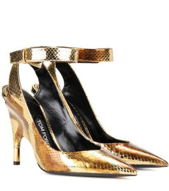 Tom Ford metallic pumps gold shoes