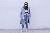 ohsoglam,blogger,sweater,jeans,shoes,coat,bag,sunglasses,striped sweater,winter outfits,pumps,handbag