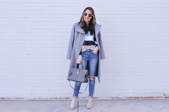 ohsoglam blogger sweater jeans shoes coat bag sunglasses striped sweater winter outfits pumps handbag