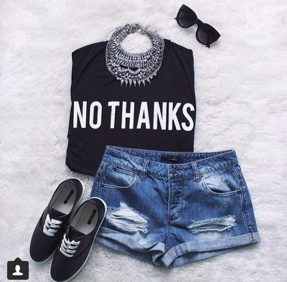 t-shirt no thanks shirt black blouse sunglasses