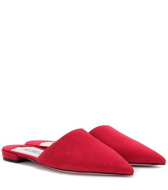 slippers suede red shoes