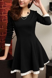 dress,little black dress,b&w,long sleeve dress,asian,black dress,lace