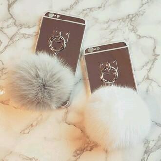 phone cover i phone case fur chain case pom pom silver