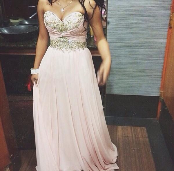 light pink prom dress gold