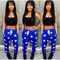 Brytcouture stars print blue & black top two
