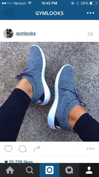 shoes blue sneakers grey nike nike flyknit nike running shoes blue rosche light blue nike sneakers nikes grey mesh shoes nike shoes