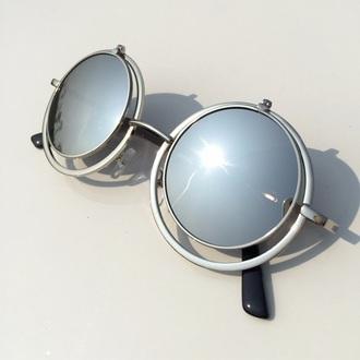 sunglasses round sunglasses silver sunglasses