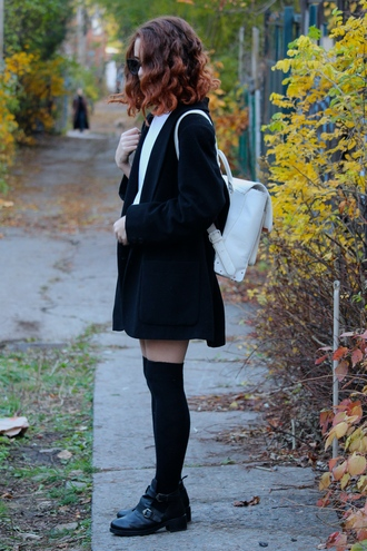 babes in velvet blogger top leather backpack coat cut out ankle boots knee high socks