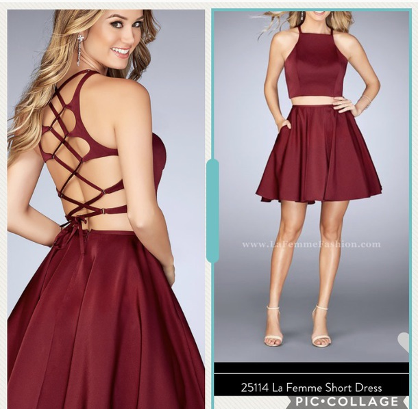 dress lf-25114 prom dress burgundy size 6