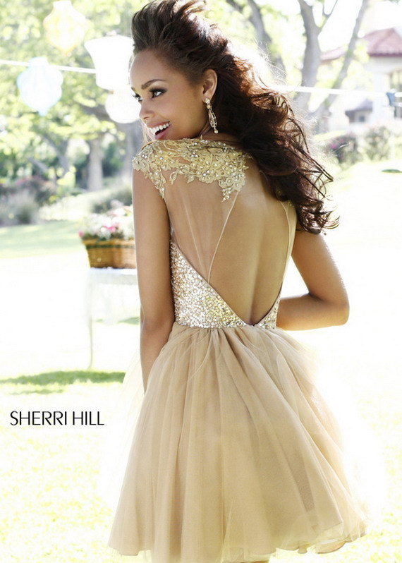 Gold Sequin Top Sheer Lace Neck Short Tulle Sherri Hill 21217 Dress [Sherri Hill 21217] - $185.00 : Prom Dresses 2014 Sale, 70% off Dresses for Prom