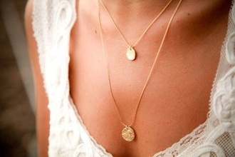 jewels necklace double chain necklace chain chain link chain necklace round necklace pendant girly gold jewelry