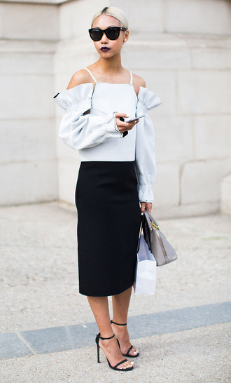 blouse off the shoulder off the shoulder top cold shoulder top mint top flare top longsleeve top sunglasses black sunglasses sandals black sandals strappy heels skirt midi skirt black skirt bag grey bag streetstyle