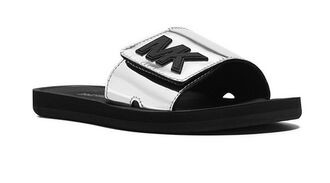 shoes michael kors silver and black slide shoes