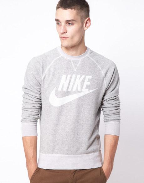 Nike Vintage Marl Crew Neck Sweatshirt in Gray for Men (grey)