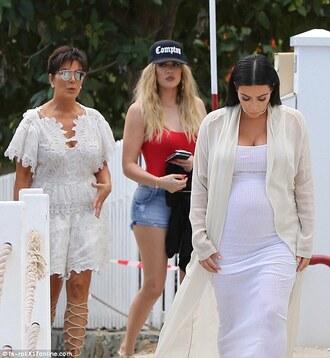 kardashians kim kardashian khloe kardashian kris jenner cap red swimwear