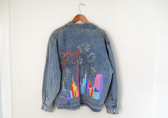 new york city des ann es 90 denim jacket 90 s veste en jean et veste taille peinte denim veste. Black Bedroom Furniture Sets. Home Design Ideas