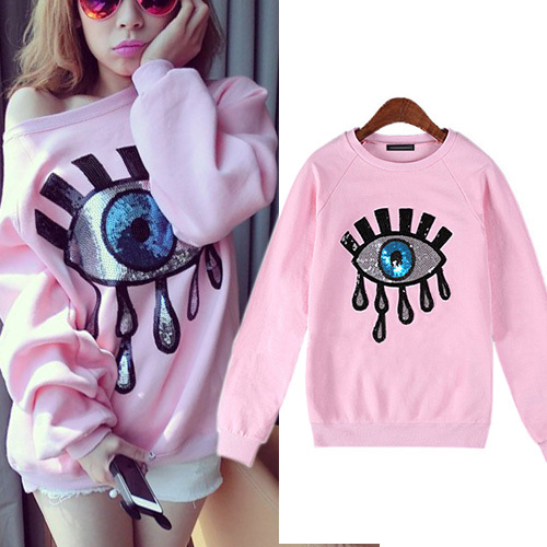[grxjy56002411]fashion sequins eyes pattern long sleeve sweatshirt