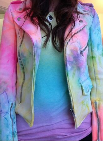 jacket cute pretty rainbow biker jacket mixed colors girly stylish zip buttons