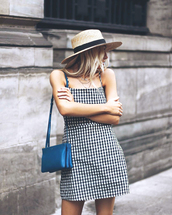 dress,blue bag,tumblr,mini dress,gingham,gingham dresses,slip dress,bag,shoulder bag,hat,sun hat,summer dress,summer outfits