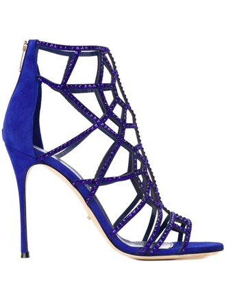 laser cut sandals blue shoes